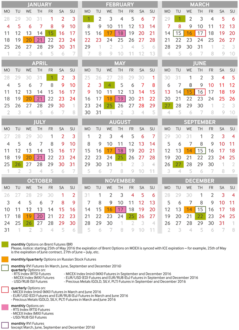 Eurostoxx options trading calendar